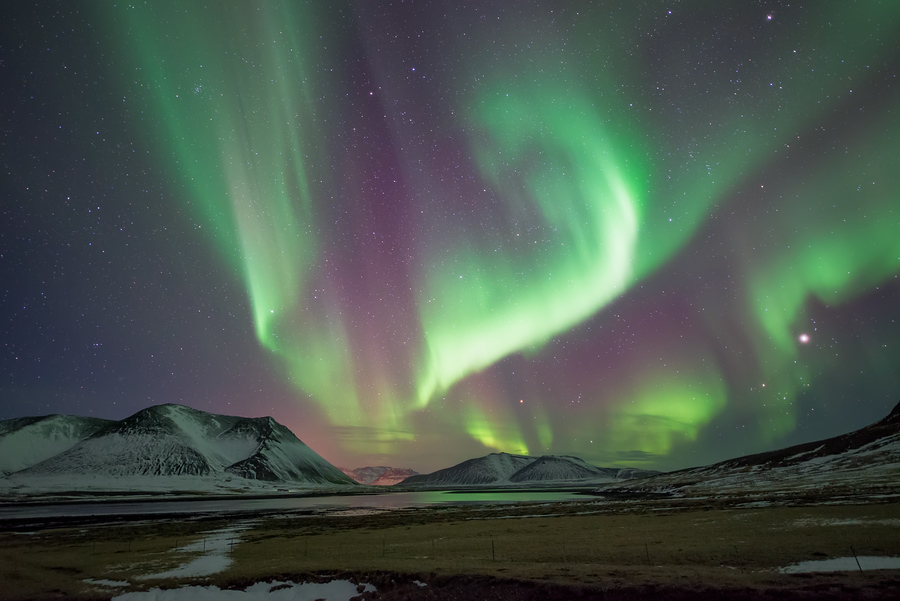 The aurora borealis over the Snæfellsnes Peninsula in West Iceland.