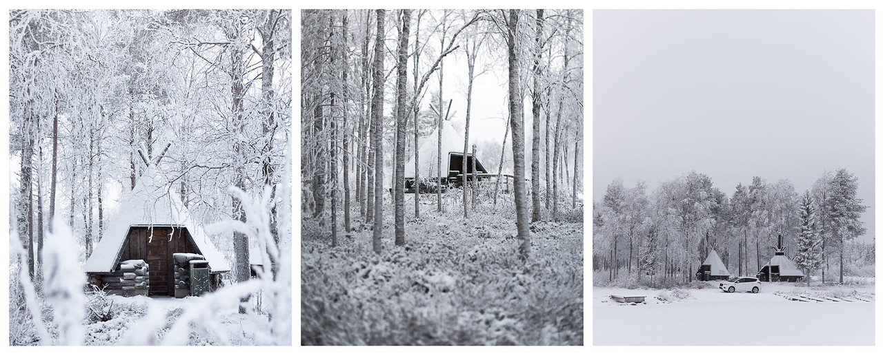 A triptych of a wooden teepee hidden amongst the trees in Finnish Lapland.