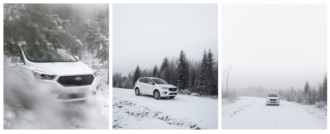 A triptych of a Ford Kuga in heavy snow in the Finnish Arctic.
